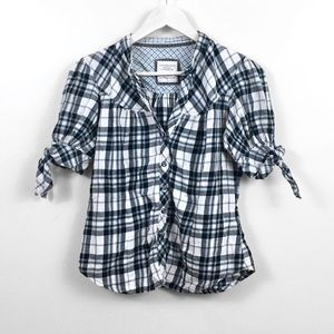 Flannel Elbow Tie Button Up Top